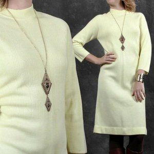 XL Vintage 60s Simple Mod Knit Sweater Dress